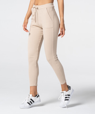 Damen Jogginghose Rib in beige 1