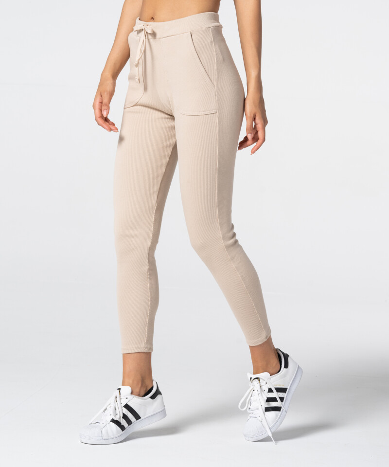 Women's Beige Rib Sweatpants