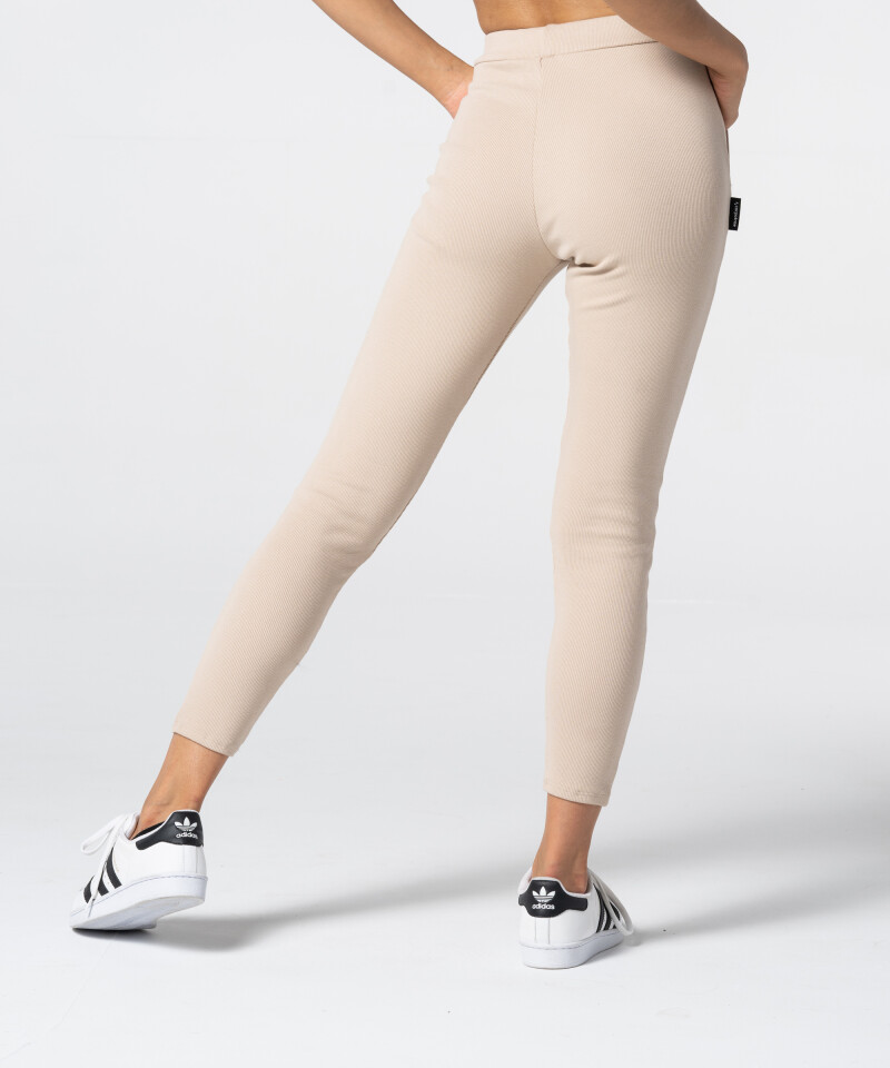 Women's Beige Rib Sweatpants 3
