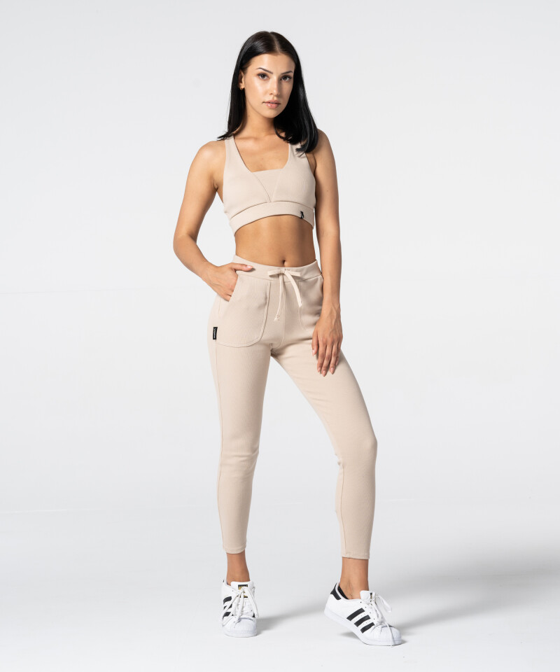 Women's Beige Rib Sweatpants 4