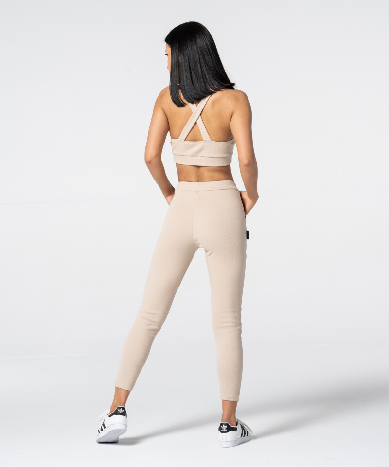 Women's Beige Rib Sweatpants 5