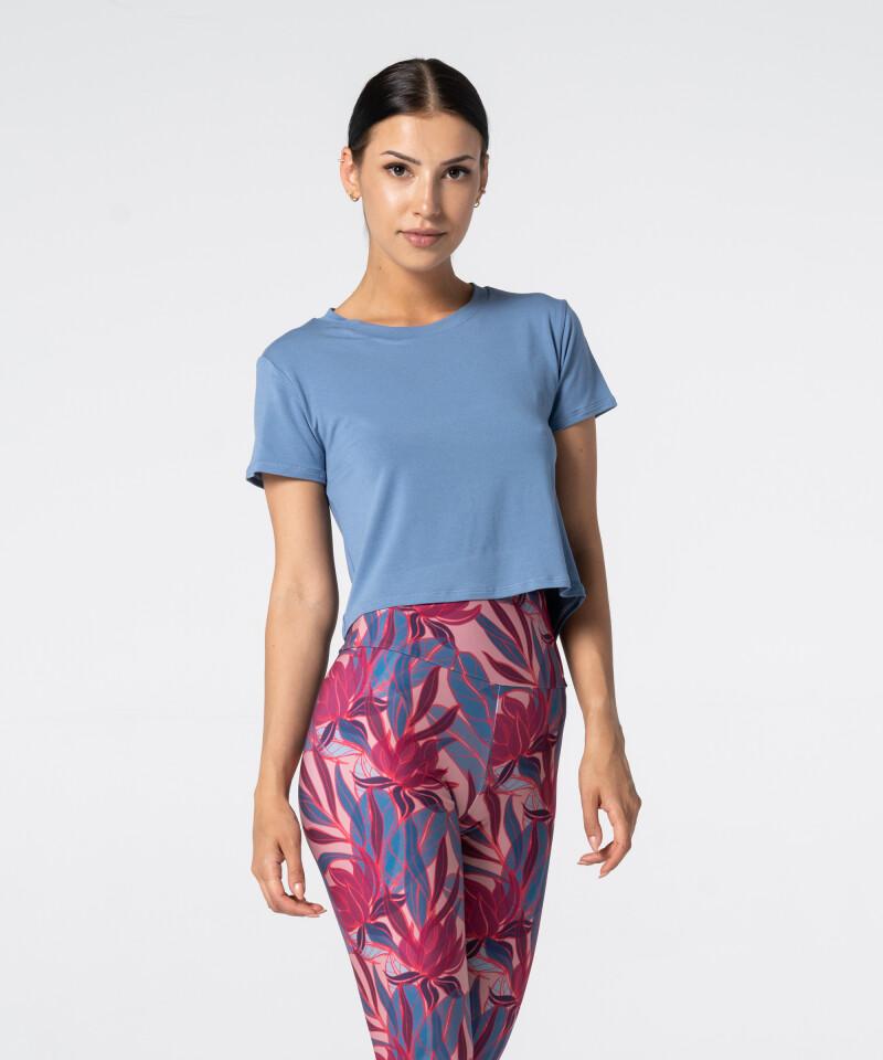 Damen Open Back T-Shirt in Blau