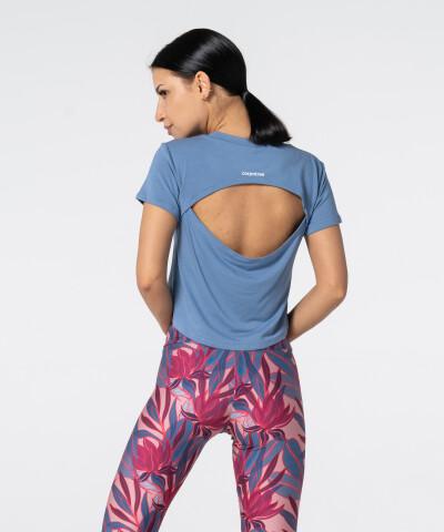 Стильная голубая футболка Open Back