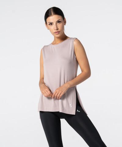 Damski Różowy T-shirt Slit z krótkim rękawem 1