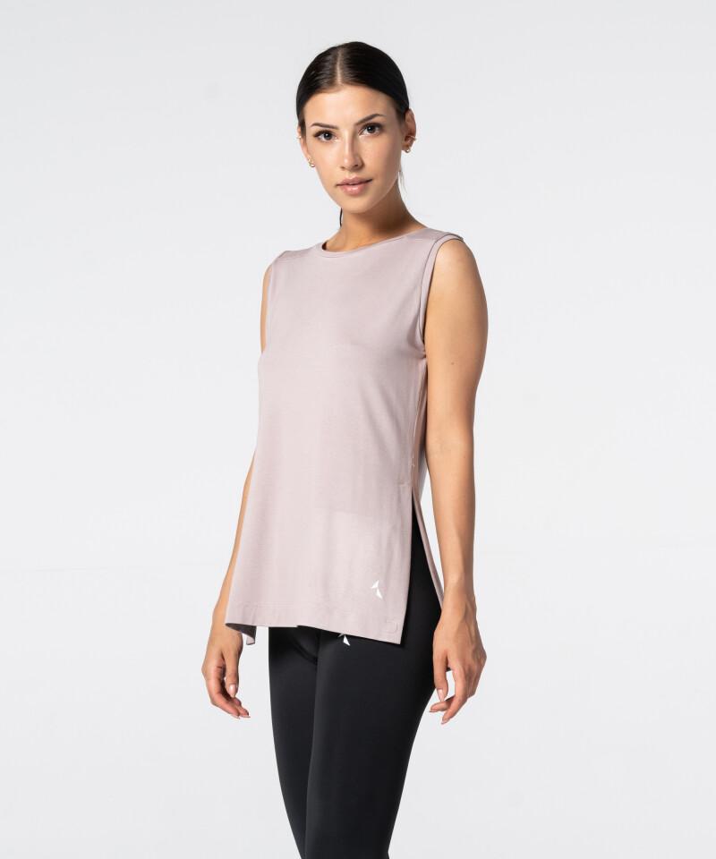 Růžové Tričko Slit s krátkým rukávem 3