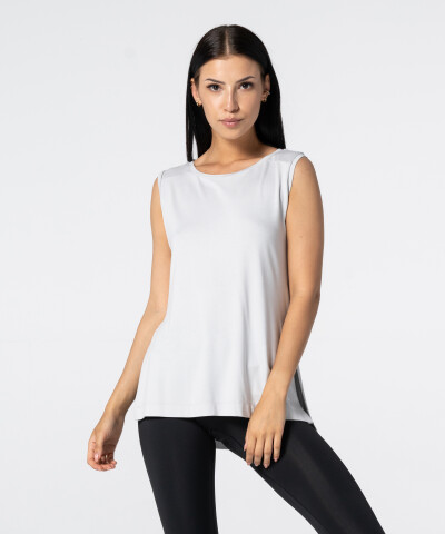 Women's Light Grey Slit Sleevelees T-shirt 1