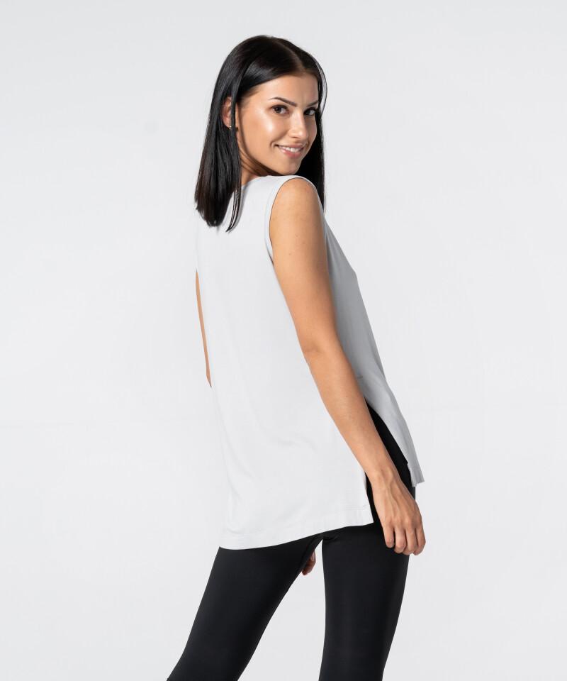 Women's Light Grey Slit Sleevelees T-shirt 2