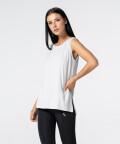 Women's Light Grey Slit Sleevelees T-shirt  3