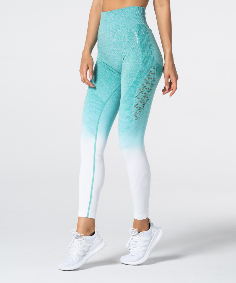 Women's White & Turquoise Ombre Phase Seamless Leggings 1