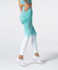Women's White & Turquoise Ombre Phase Seamless Leggings 2