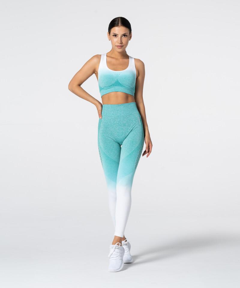 Women's White & Turquoise Ombre Phase Seamless Leggings 3