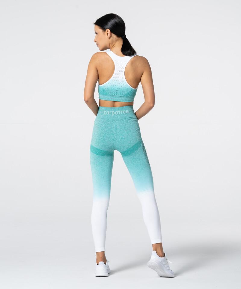 Women's White & Turquoise Ombre Phase Seamless Leggings 5