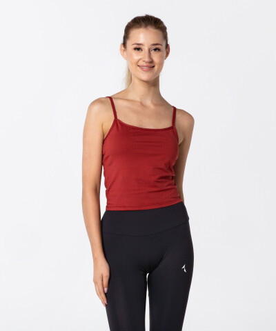 Women's Brick-red Basic Top 1