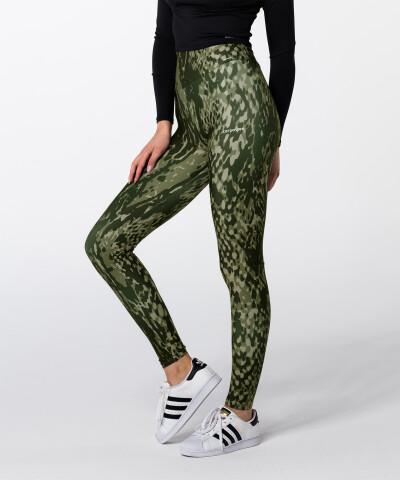 Zielone, skóra węża Legginsy z wysokim stanem 1