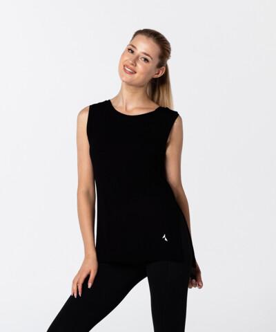 Damski Czarny T-shirt Slit z krótkim rękawem 1