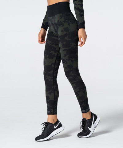 Women's Green Camo Seamless Leggings 1