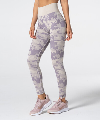 Women's Purple-beige Camo Seamless Leggings 1