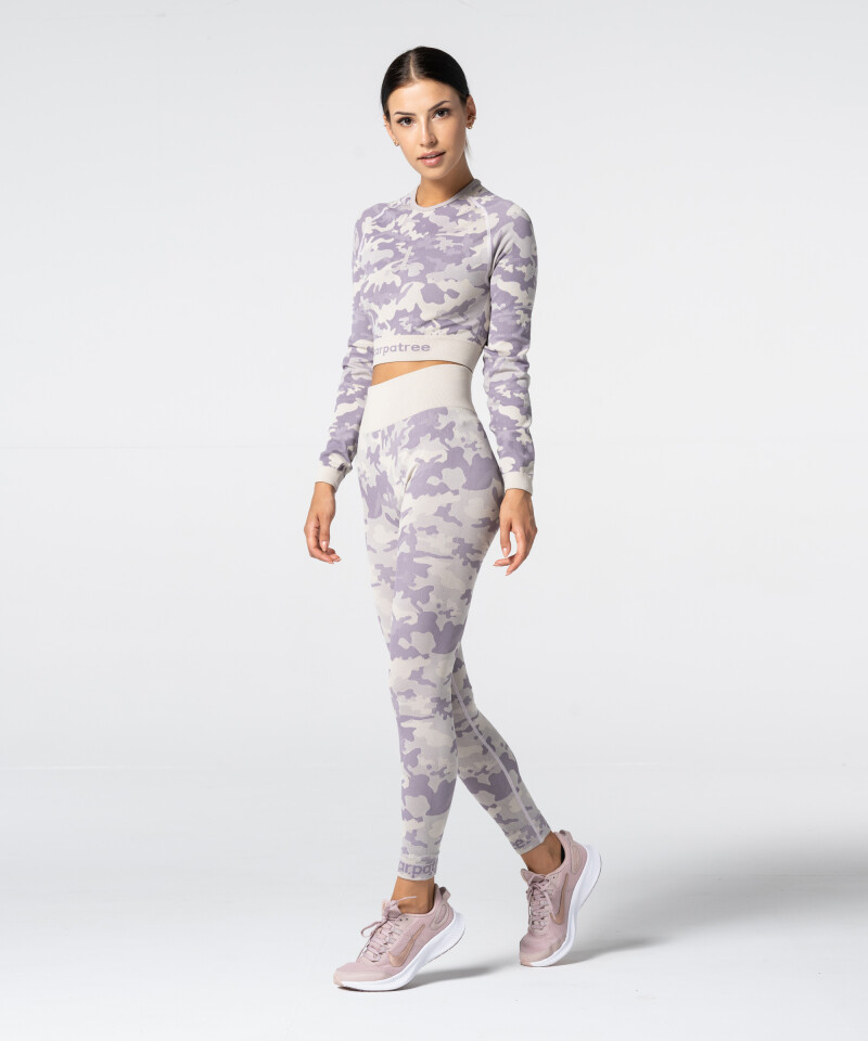 Damen Lila Nahtlose Leggings Camo 3