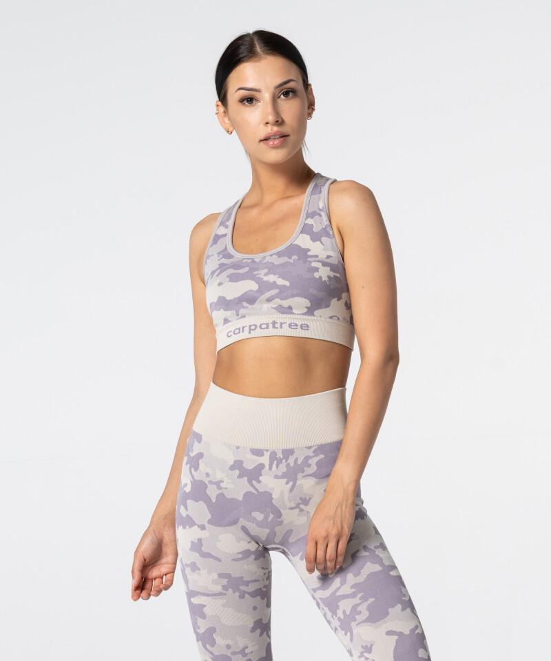 Women's Purple Beige Camo Seamless Bra 1
