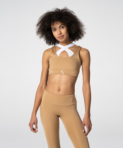 Iced coffe, khaki and white Spark™ Double Bra
