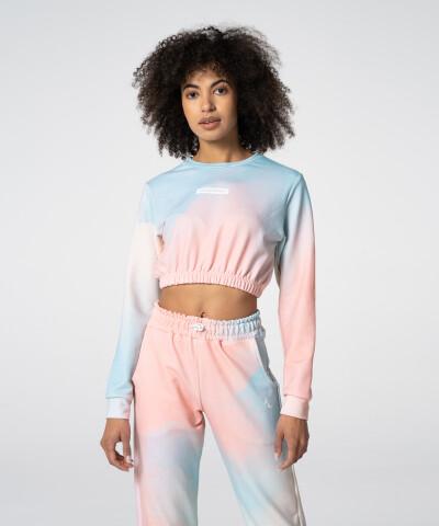 Women's Turquosie Tie Dye Juniper Cropped Sweatshirt