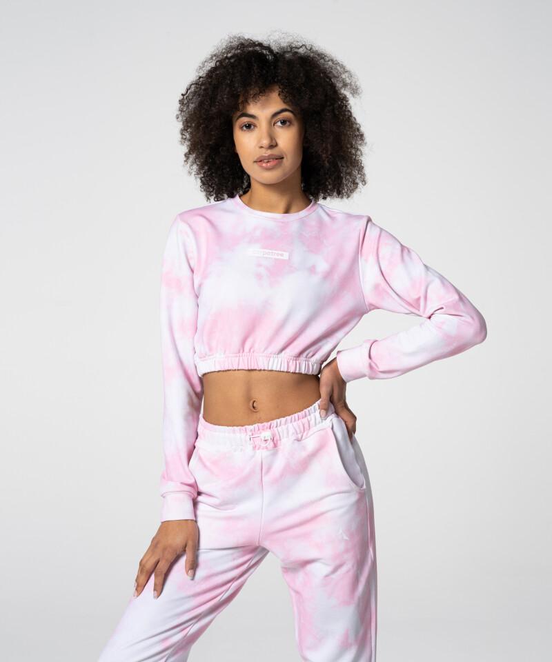 Удобный розовый короткий свитшот Juniper Tie Dye