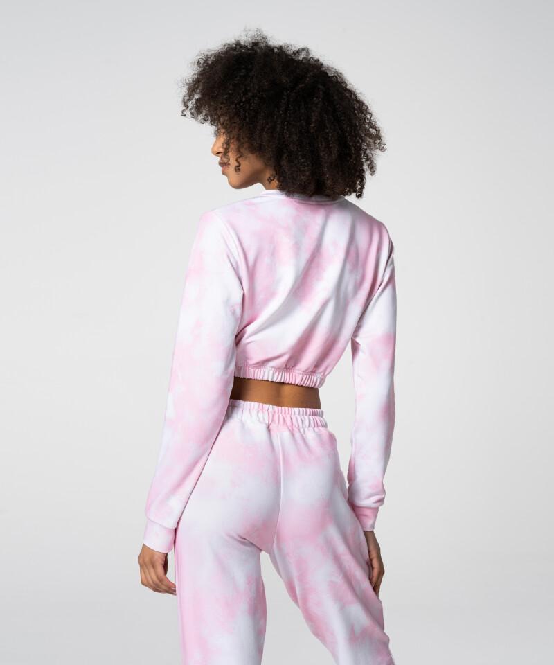 Нежный розовый короткий свитшот Juniper Tie Dye