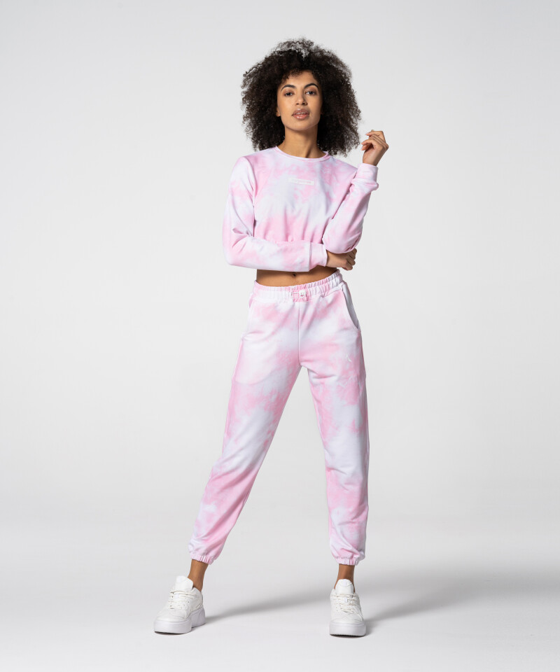 Gym Pink Tie Dye Juniper Cropped Sweatshirt
