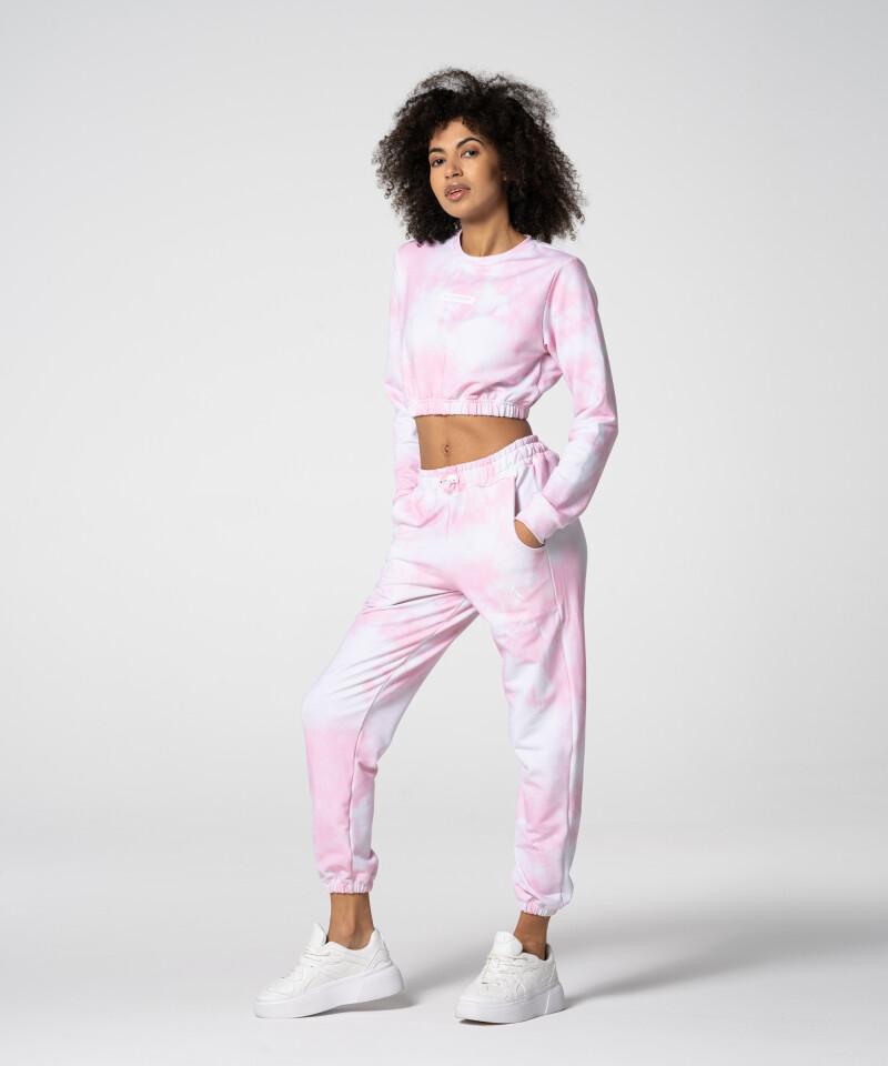Эластичный розовый короткий свитшот Juniper Tie Dye