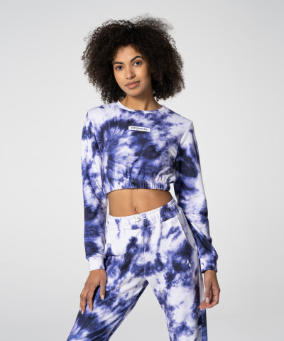 Sporty Purple Tie Dye Juniper Cropped Sweatshirt
