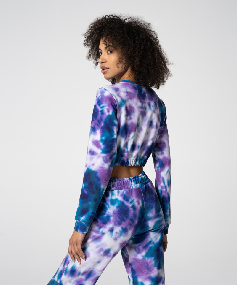 Женский фиолетово-синий короткий свитшот Juniper Tie Dye