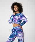 Эластичный фиолетово-синий короткий свитшот Juniper Tie Dye