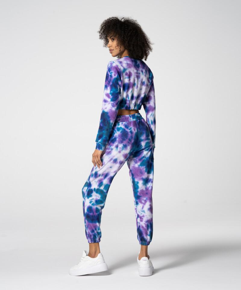 Фиолетово-синий короткий свитшот Juniper Tie Dye для спортзала