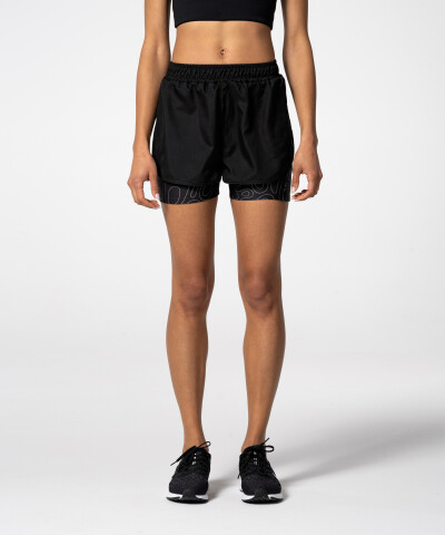 Women's Black Pocket Shorts with print