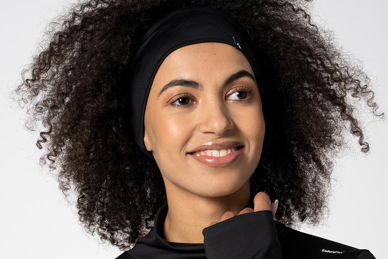 black headband with logo