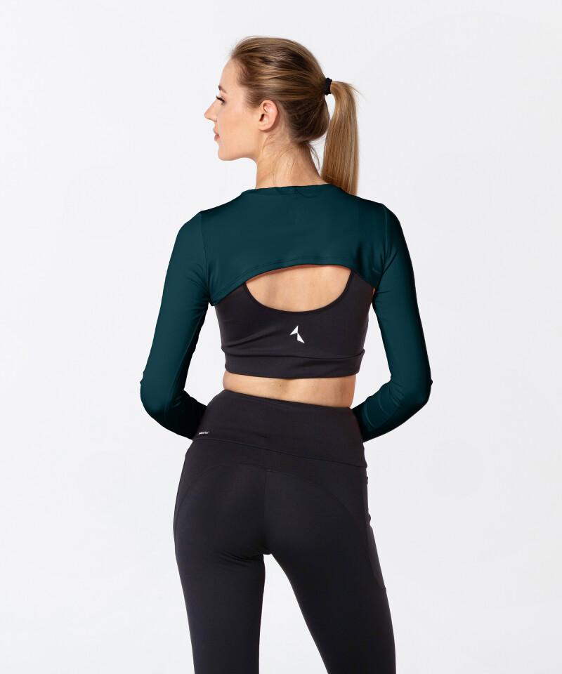 Damen kurzes schwarzes Hemd mit langen Ärmeln High Cropped