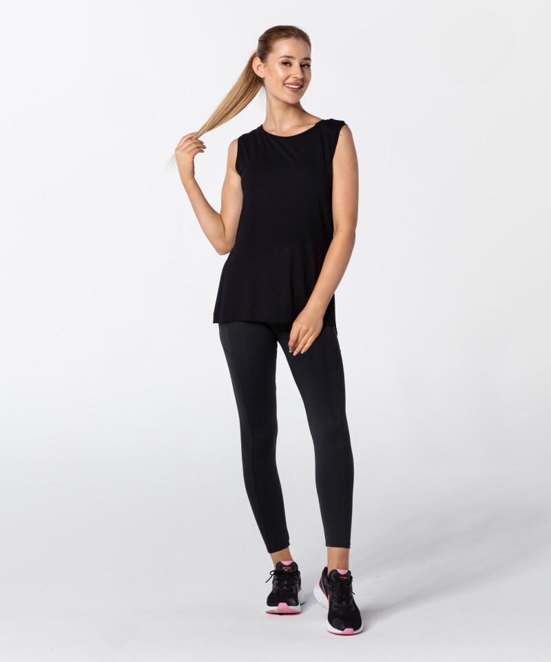 Женская черная футболка Slit с короткими рукавами