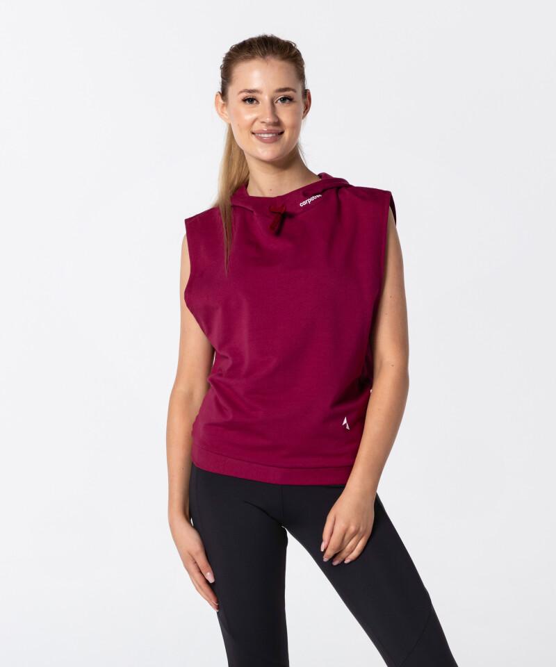 Women's Burgundy Vital Sleeveless Hoodie