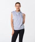 Women's Grey Melange Vital Sleeveless Hoodie