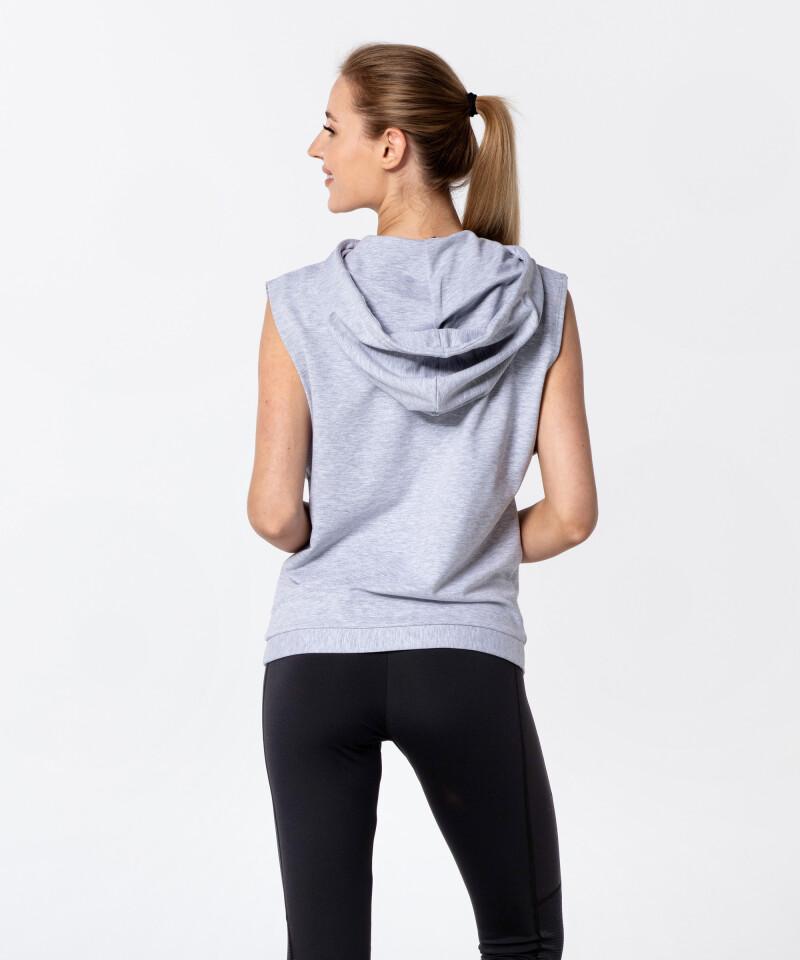 Grey Melange Gym Vital Sleeveless Hoodie