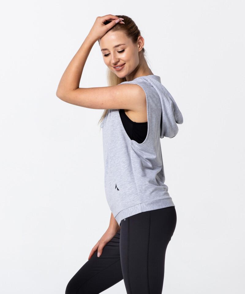 Grey Melange Vital Fitness Sleeveless Hoodie