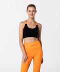 T-Back Bra, Black & Vibrant Orange