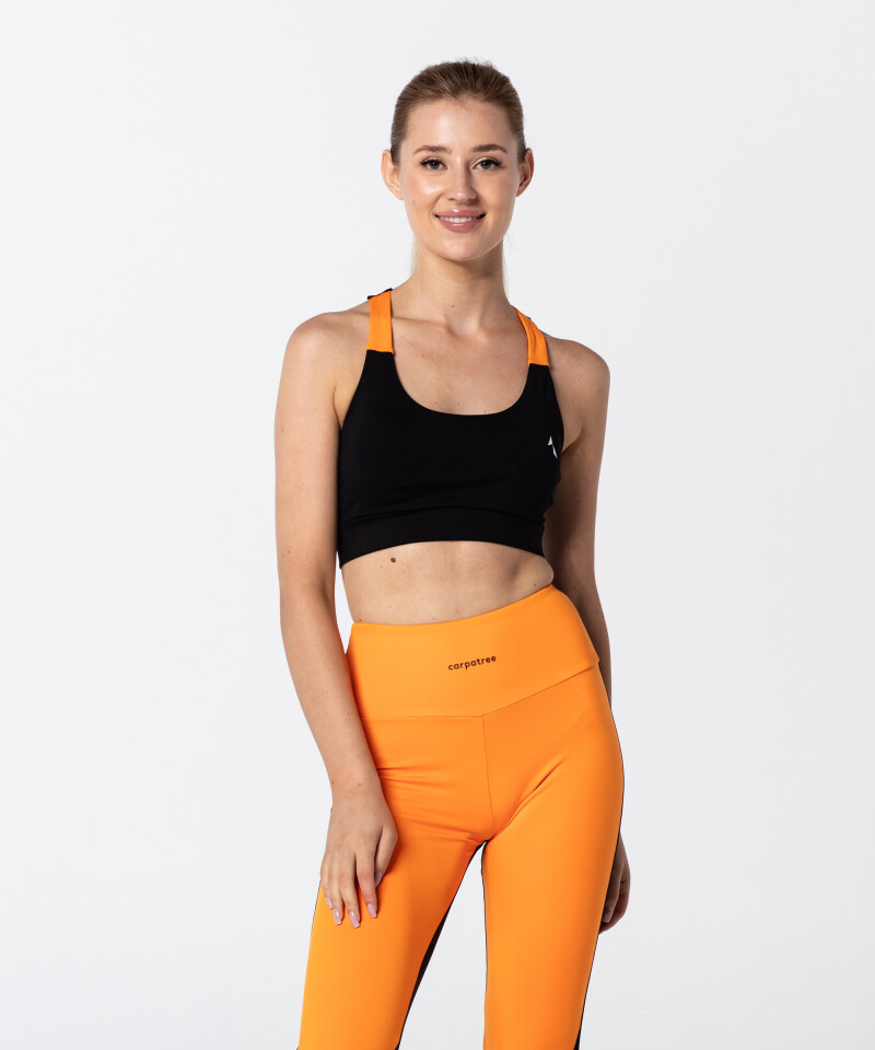 Feminine Black & Vibrant Orange T-back Bra
