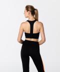 Sporty Black & Vibrant Orange T-back Bra