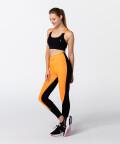 Black & Vibrant Orange Gym T-back Bra