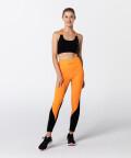 Black & Vibrant Orange Fitness T-back Bra