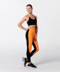 Black & Vibrant Orange T-back Bra for active women