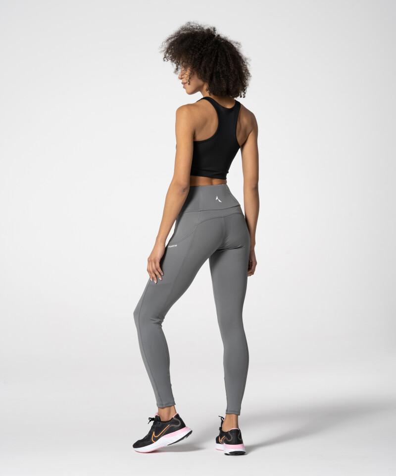 Women's Grey Gym Leggings with three pockets
