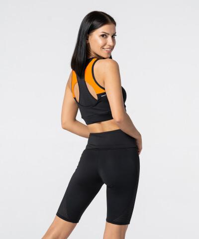 Czarno-pomarańczowy Sportowy Biustonosz Double Back