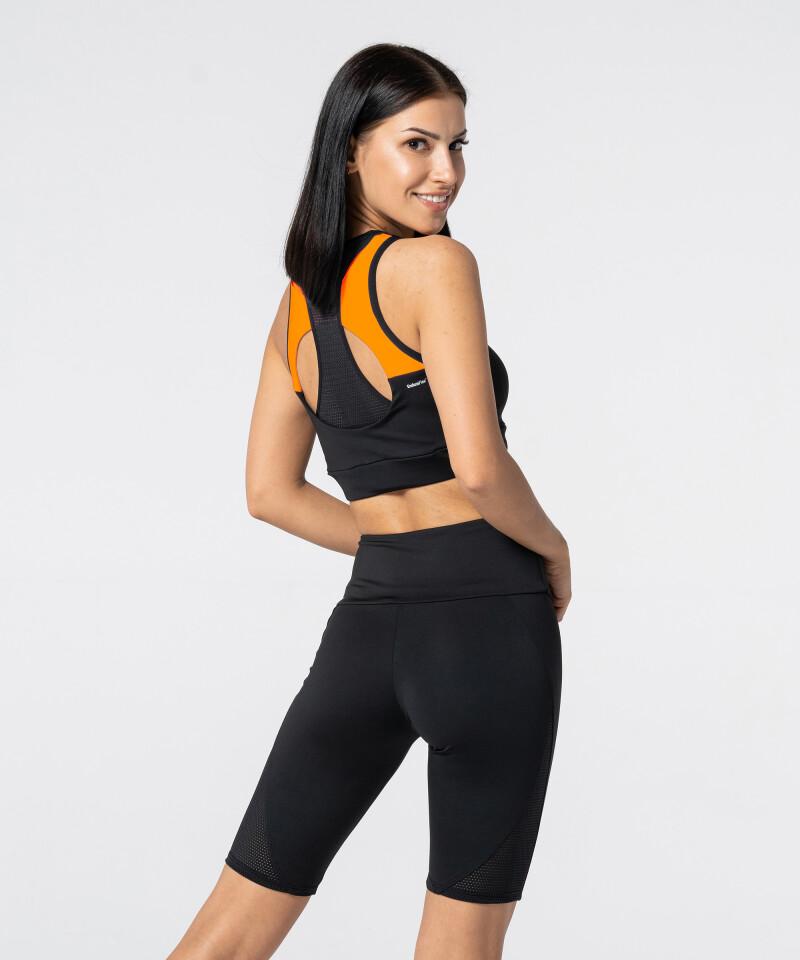 Schwarz-orangener Double Back Sport BH